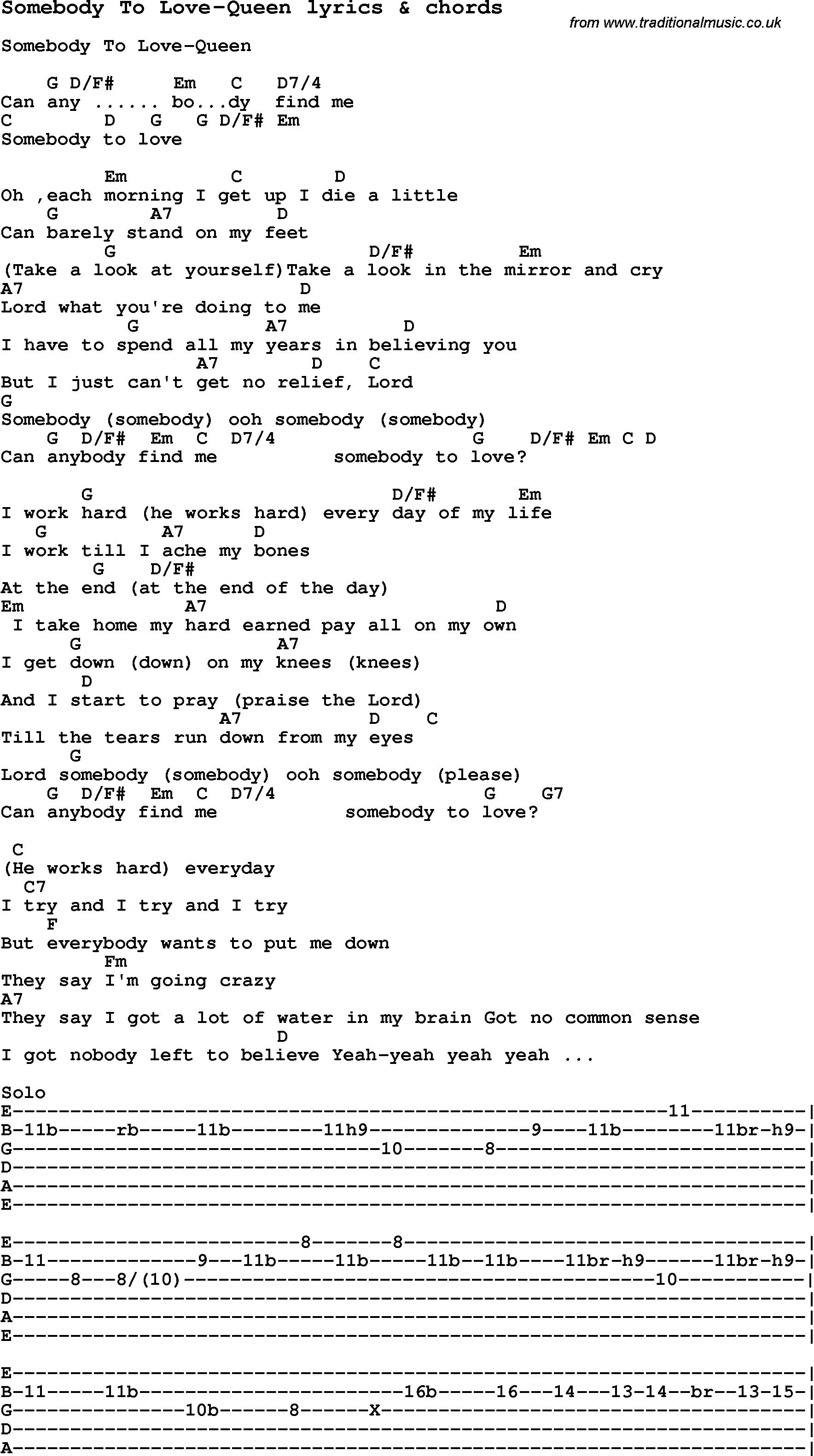 Love Song Lyrics Forsomebody To Love Queen With Chords