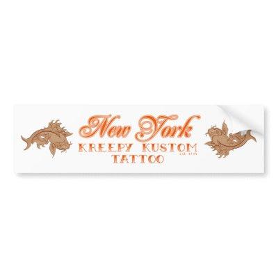 NY Kreepy Kustom Tattoo Koi Bumper Sticker Autosticker von kreepykustom