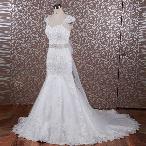 RSW614 Crystal Bling Bridal Gowns Belt Cap Sleeve Bride