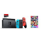 Nintendo Switch 3 items Bundle:Nintendo Switch 32GB Console Neon Red and Blue Joy-con ,64GB Micro SD Memory Card and Mario Kart 8 Deluxe