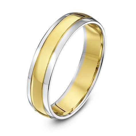 9kt White & Yellow Gold Court 5mm Wedding Ring