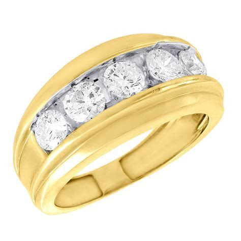 14K Yellow Gold Wedding Band Mens 5 Stone Round Diamond