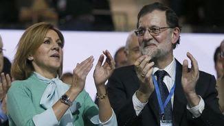 María Dolores de Cospedal i Mariano Rajoy, al Congrés del PP (EFE)