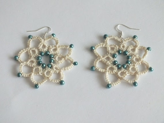 Ivory Flower Tatted Earrings with Teal Pearls 8 by Hermitinas
