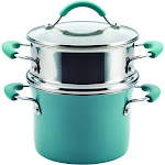 Rachael Ray Cucina Hard Enamel Nonstick 3-Quart Covered Multi-Pot Set with Steamer Agave Blue