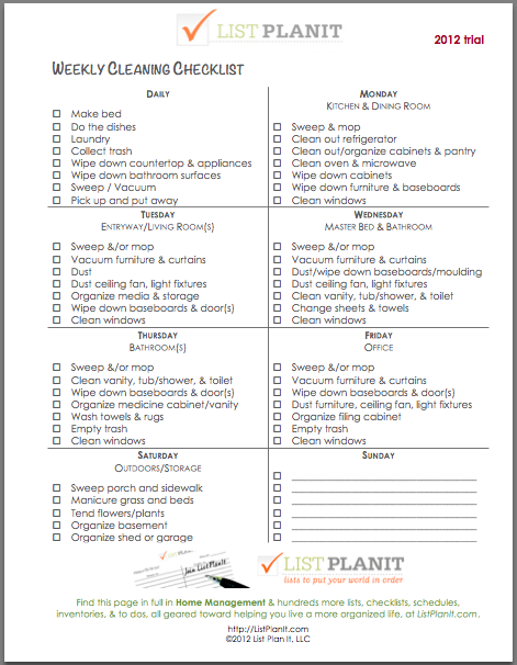 Daily Household Cleaning Schedule – March 2017 Calendar