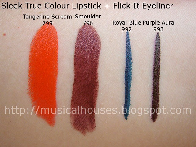 sleek lipstick eyeliner swatches