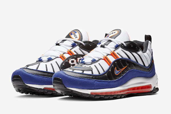 detailed look e73d9 7999c Nike Air Max 98 Knicks White Deep Royal Blue Total Orange Black CD1536-100 Release  Date