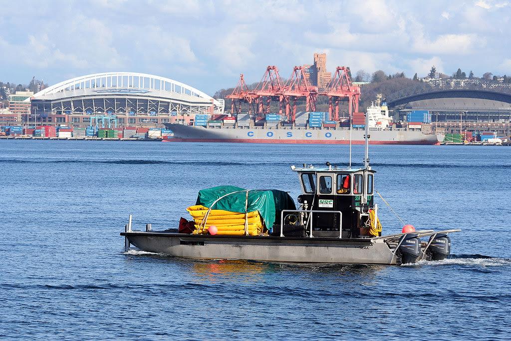 Sea Wolf, 2 Stadiums, Cosco Container Ship, Cranes, Amazon.com Headquarters
