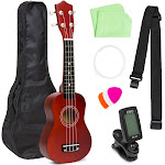 Best Choice Products Basswood Ukulele Beginner Kit with Carrier, Clip-On Tuner, Polishing Cloth, Extra String - Brown