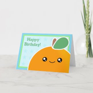 Kawaii Birthday Card Orange Fruit card