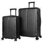 Pathfinder 2-Piece Expandable Hardside Spinner Luggage Set, Black