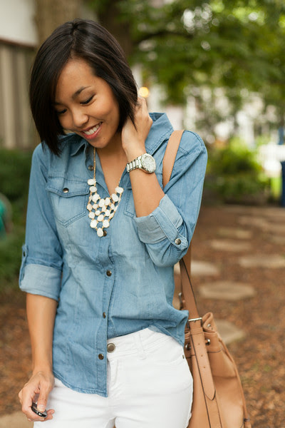 Chambray Shirt and White Denim Jeans  - Kate Style Petite