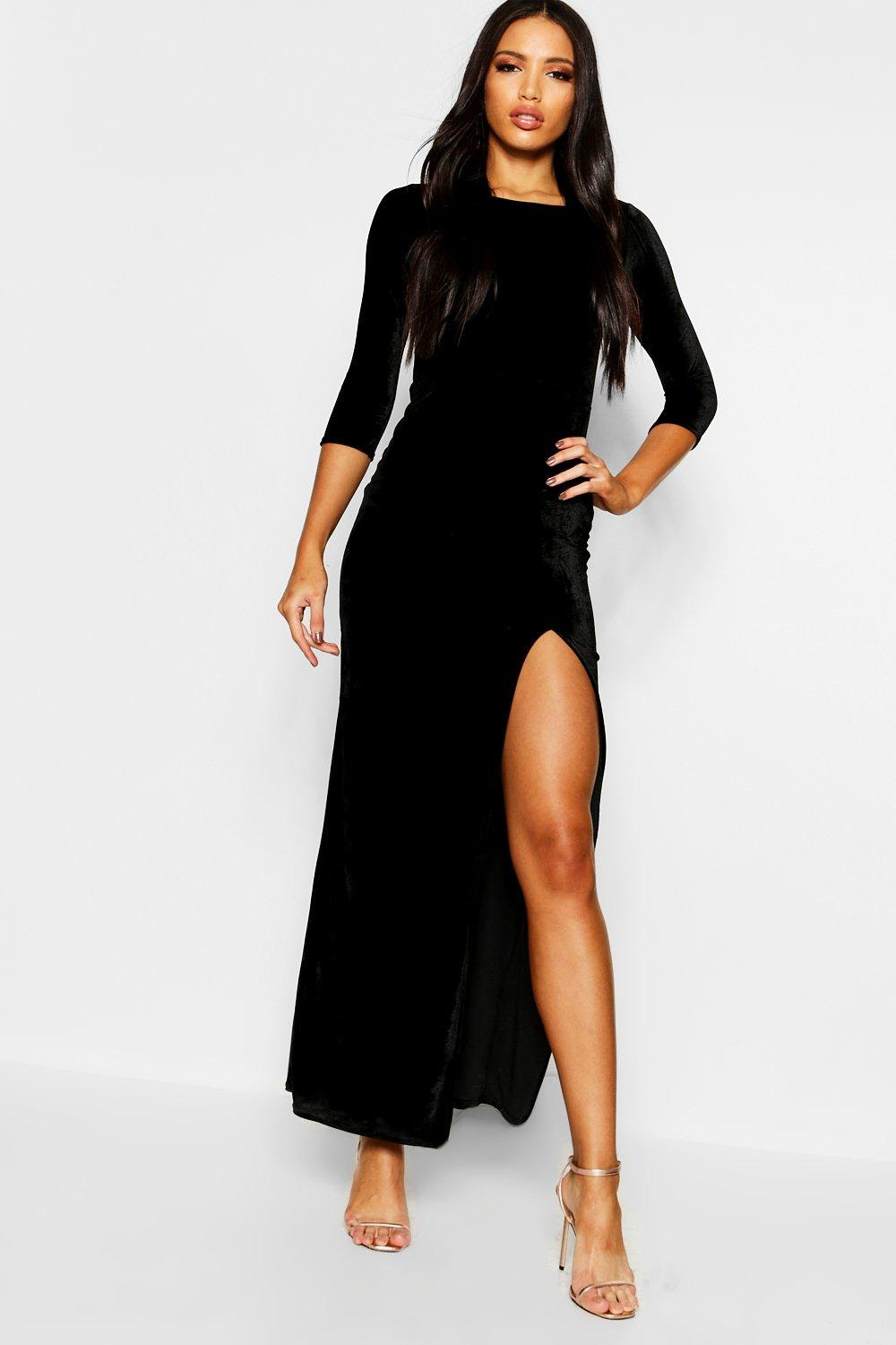 boohoo womens kelly velvet long sleeve maxi dress  ebay