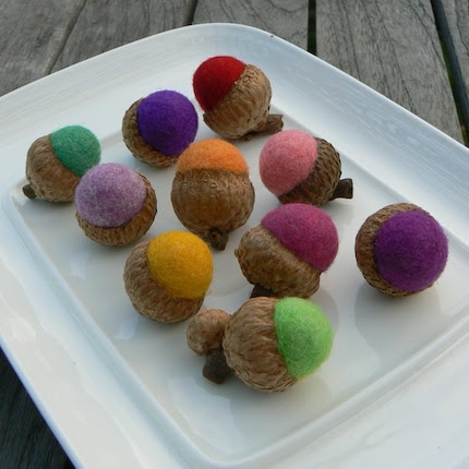 Candy - 10 Felted Acorns in Candy Colors.