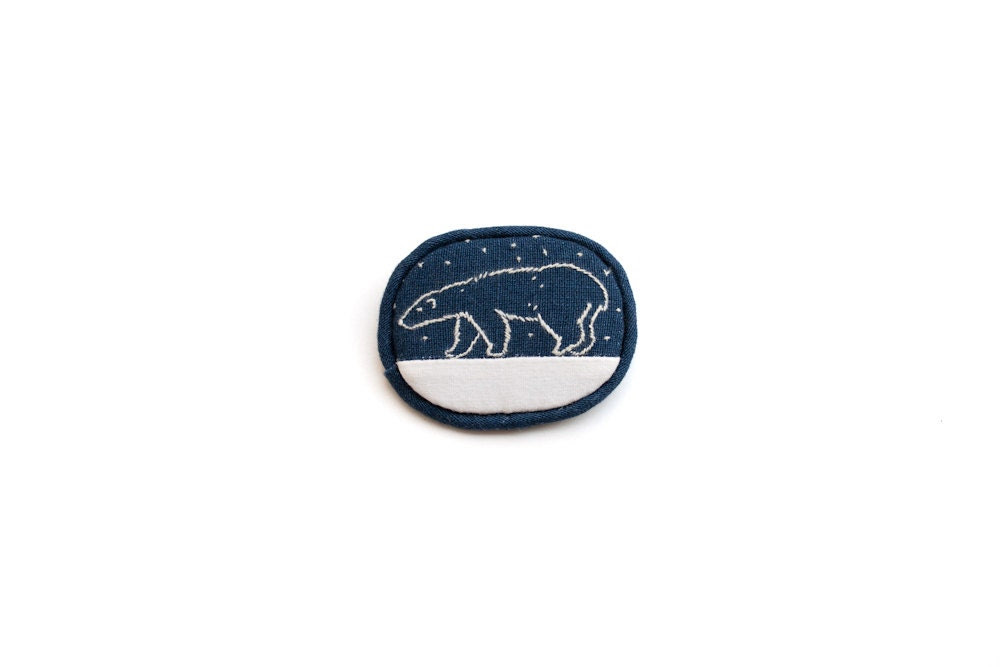 Polar bear, embroidered woodland brooch, blue and white totem. Minimalist animal brooch.