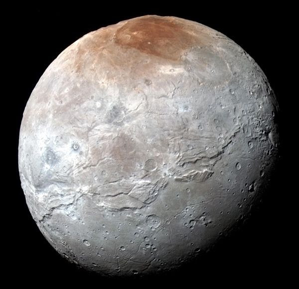 A high-resolution, enhanced-color global image of Charon that was taken by NASA's New Horizons spacecraft on July 14, 2015.