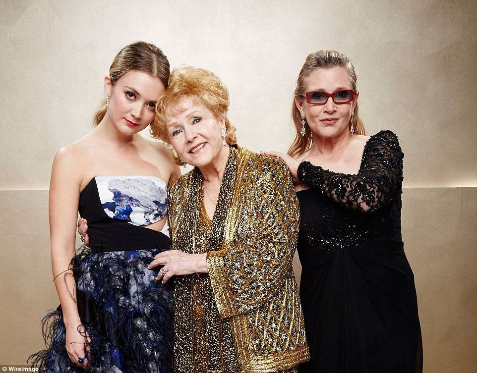 Besides her mother, Fisher is survived by her brother, Todd Fisher, and her daughter, Billie Lourd. Pictured above, Billie Lourd, Debbie Reynolds, and Carrie Fisher pose together at the Screen Actors Guild Awards in 2015