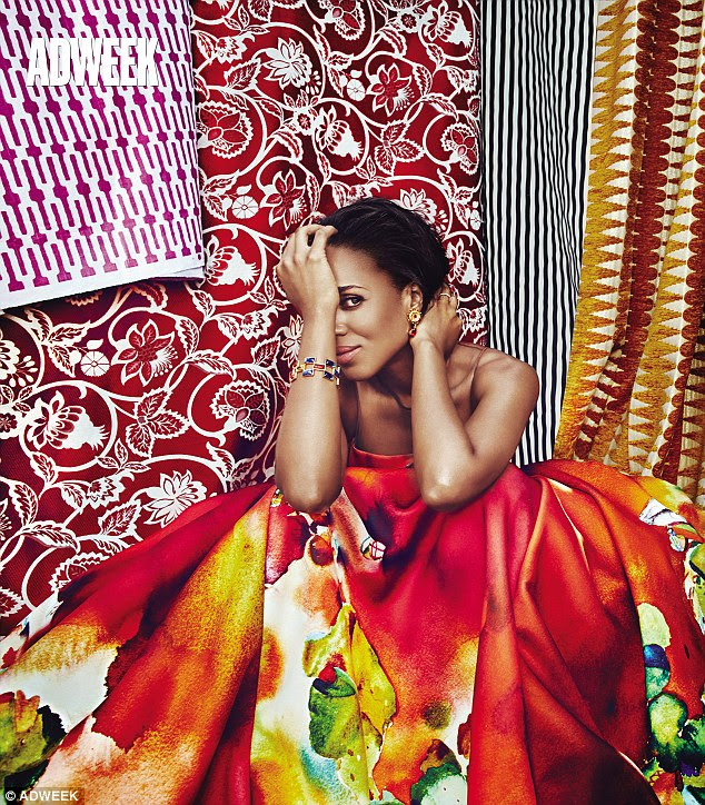 Vibrant: The New York born beauty stuns in a cover shoot wearing a colourful gown amid swathes of patterned fabrics
