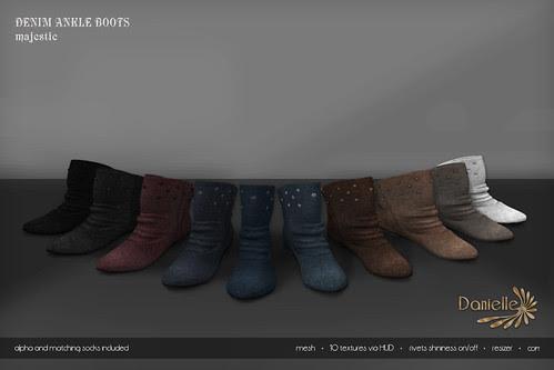 DANIELLE Denim Ankle Boots Majestic
