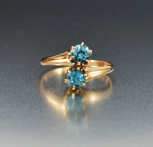 Blue Tourmaline Bypass Antique 12K Gold Ring