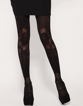 Image 1 of Henry Holland For Pretty Polly Lace Panel Tights