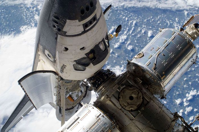 Space shuttle ATLANTIS is docked to the International Space Station (ISS) on May 17, 2010.