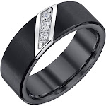 Men's Black Tungsten Diamond Band