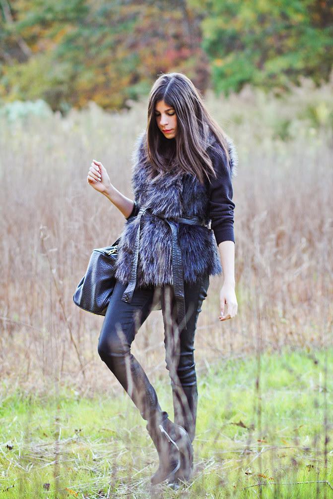 HM Fur Vest, Topshop Ambush, Alexander Wang Rocco Duffel, Fashion Outfit
