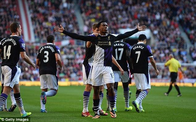 In good form: Sturridge celebrates his seventh goal of the season