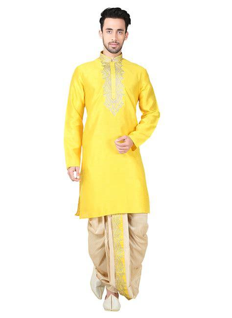 buy yellow art silk dhoti set embroidered kurta pyjama