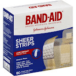 Band-Aid Adhesive Bandages, Sheer Strips, Assorted - 80 count