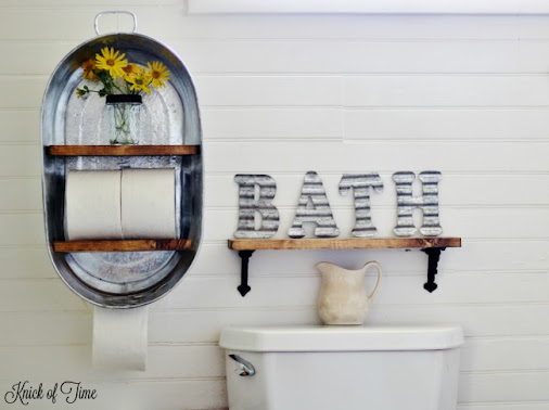 DIY Washtub Farmhouse Shelf -> http://bit.ly/FarmhouseBathroomShelf I went to…