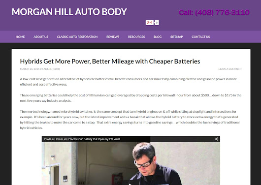 Hybrids Get More Power, Better Mileage with Cheaper Batteries - Morgan Hill Auto Body