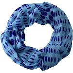 Lovely Sheer Speckled Polka Dot Circle Print Infinity Loop Scarves Teal Blue