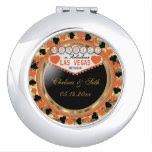 Married in Las Vegas | Orange & Gold Metallic Vanity Mirrors