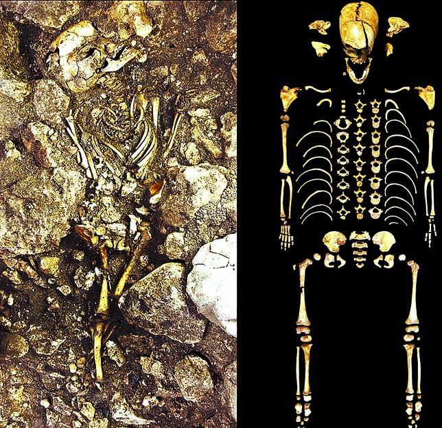 A la izquierda, los restos hallados en este yacimiento cerca de Cueva Mayor, en Atapuerca. DB