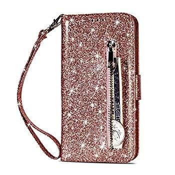 Geschenke für Kinder 👉 Artfeel Reißverschluss Brieftasche Hülle für Huawei Mate 20, Bling Glitzer Leder Handyhülle mit Kartenhalter,Flip Magnetverschluss Stand Schutzhülle mit Tasche und Handschlaufe-Roségold