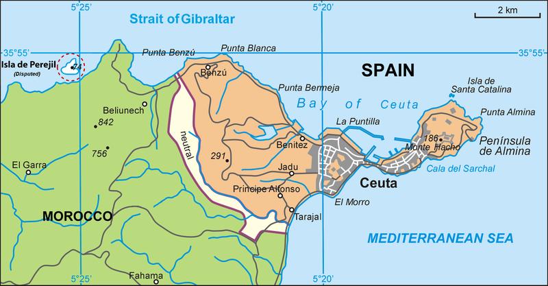 خريطة سبتة المغربية