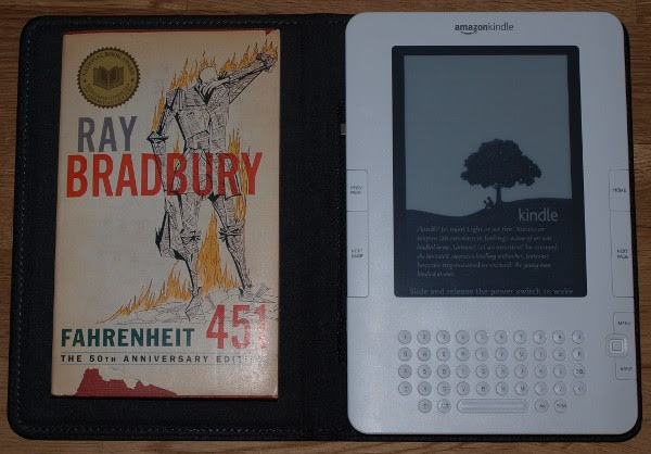 photo of Kindle with leather cover and Fahrenheit 451 paperback for comparison