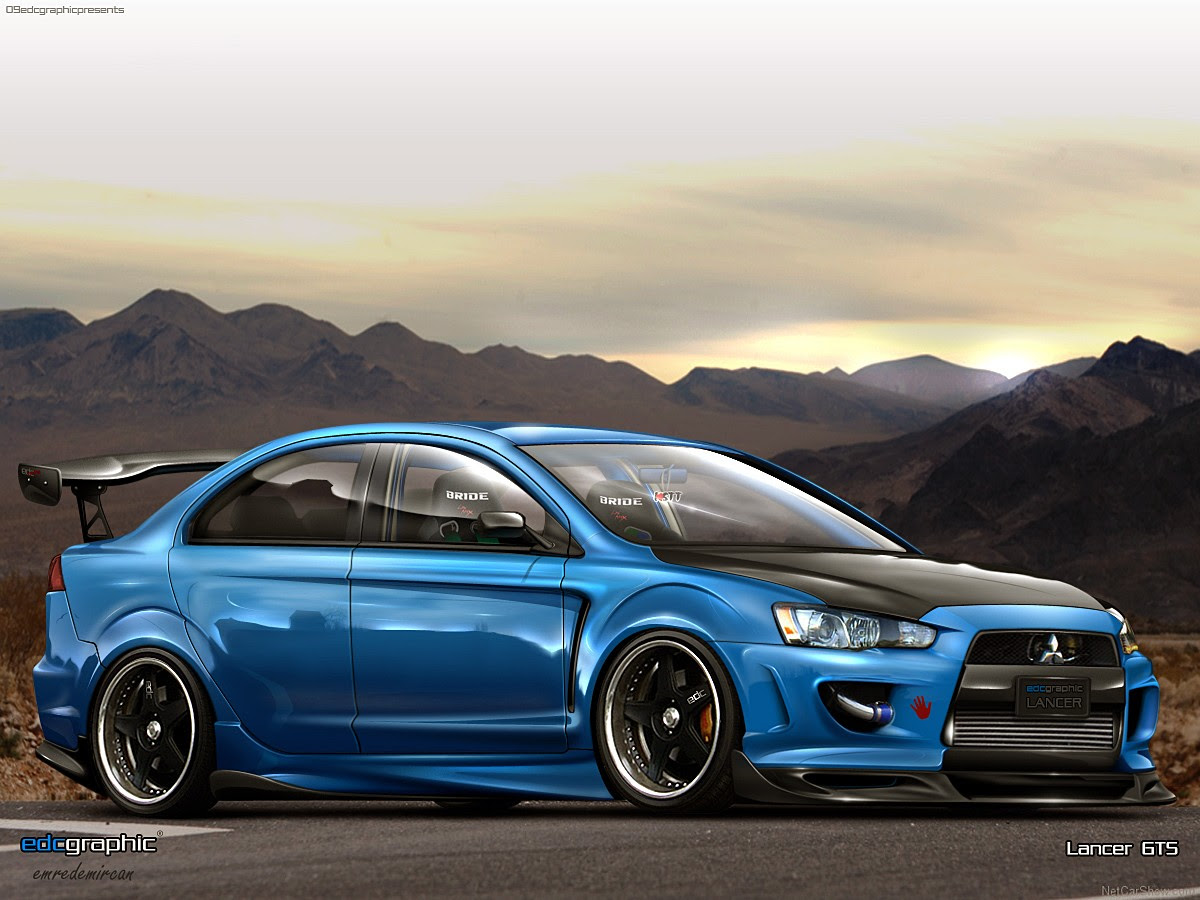 car, Sports Car, Tuning, Digital Art, Mitsubishi, Mitsubishi Lancer Evo X, Blue Cars Wallpapers