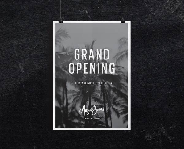 Augie Jones Grand Opening Poster Design by Mijan Patterson