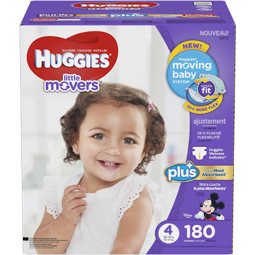Huggies Little Movers Plus Diapers, Size 4 - 180 pack
