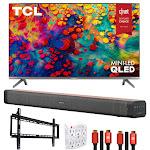 "TCL 65"" 6-Series 4K QLED Dolby Vision HDR Roku Smart TV w/ Deco Home Soundbar Bundle"