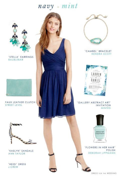 Navy Blue and Mint Green Wedding Style   Blue Bridesmaid