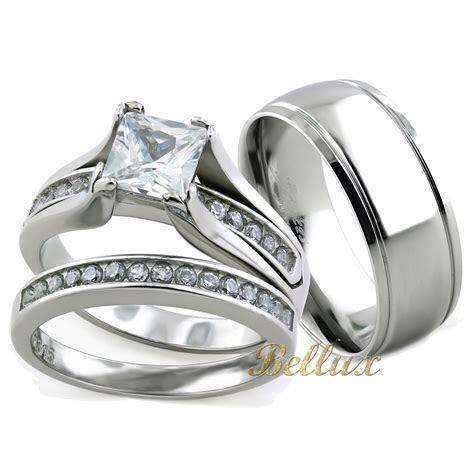 His and Hers Wedding Rings Sets   Princess Cut Rings Set