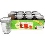 Ball Regular Mouth 8 oz. Half Pint Mason Jars Freezer Safe 12 Count