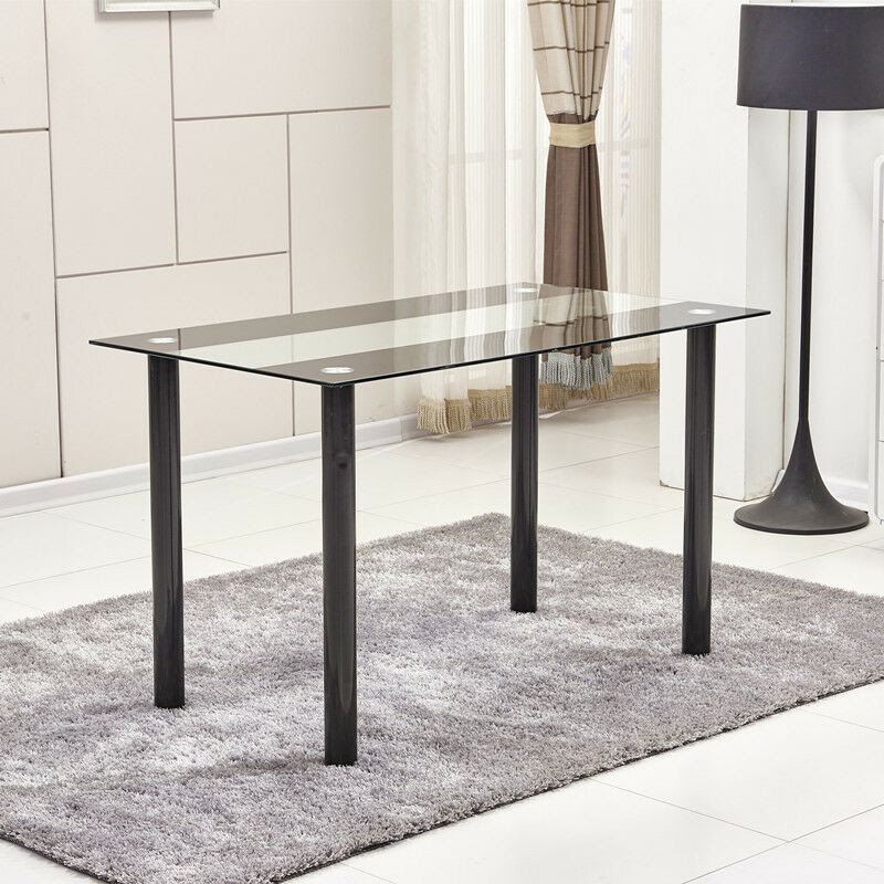 Modern Black\u0026Clear 8mm Tempered Glass Dining Table Black Metal Legs Dining Room  eBay