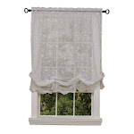 Habitat Hathaway Scroll Motif Embroidery 54 X 63 Balloon Curtain White