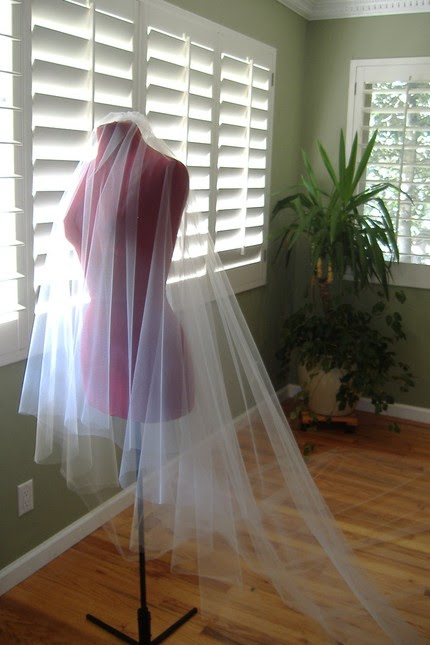 Brand New Cathedral Length Ivory Tulle DROP VEIL for sale :  wedding drop veil veil cathedral cathedral length tulle ivory gold white inspiration ceremony dress reception Cathedral Veil2